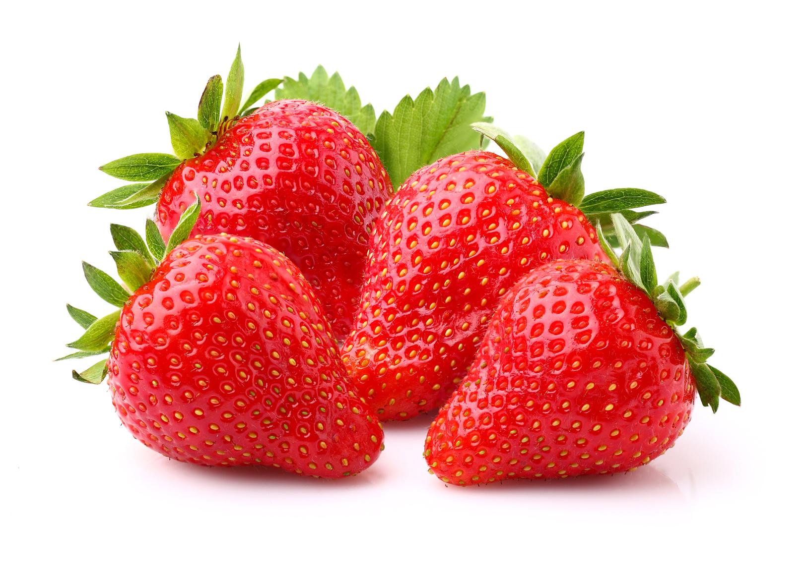 Ripe strawberry with leaf