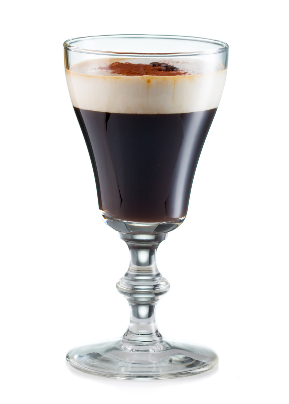 Irish coffee in a glass isolated on white background