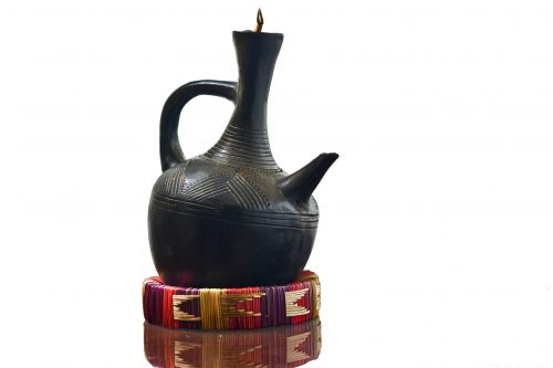 Traditional Ethiopian coffee pot made out of clay