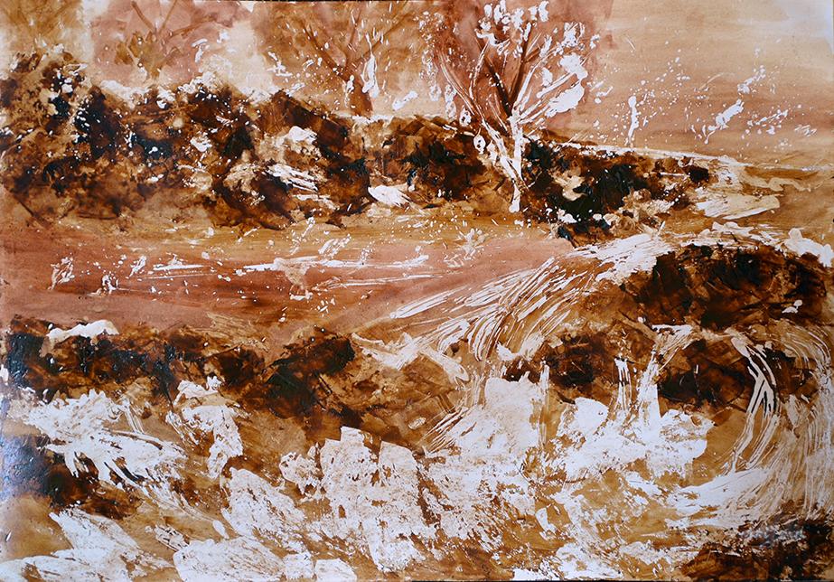 Bez-tytułu,-obraz-namalowany-odcieniami-kawy,-przy-użyciu-szpachli-i-pędzla-50x40