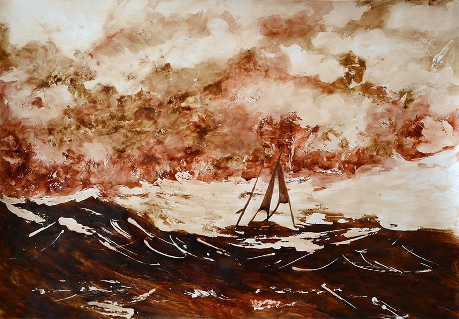 Burza-na-morzu-obraz-malowany-odcieniami-kawy,-przy-użyciu-szpachli-i-pędzla-50x35-04.2014r