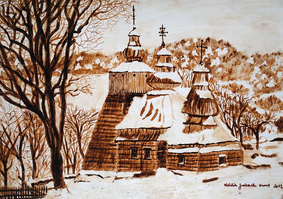 ,,Cerkiew-Łemkowska,-obraz--namalowany-kawą,-50x40,-2012r