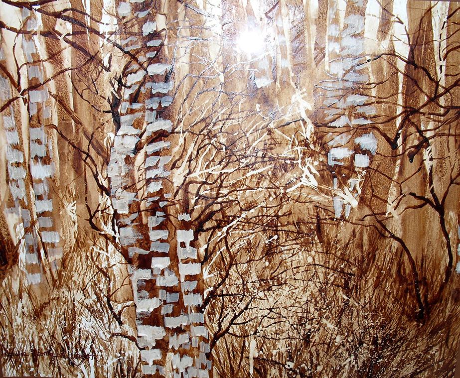 ,,Cynamonowe-brzozy,,-obraz-namalowany-kawą,-przy-użyciu-szpachli-i-pędzla,-nagrodzony-na-międzynarodowym-konkursie-malarskim-pt.-Zapachy-życia-02.2013r,-50x70,