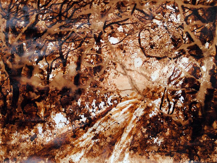 ,,Jesienna-mgła,-obraz-namalowany-kawą,-przy-użyciu-szpachli-i-pędzla,-2014r-50x40