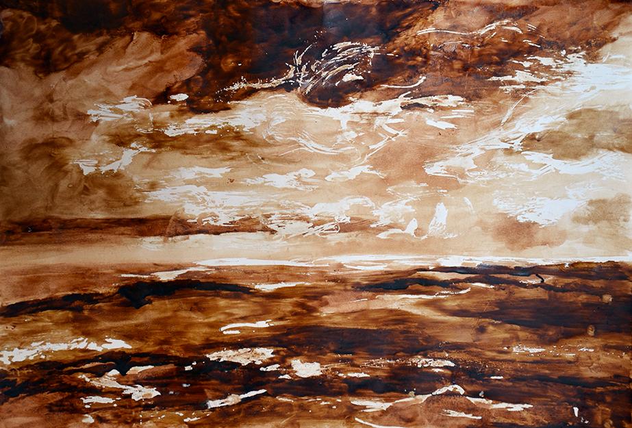 Morze-obraz-namalowany-kawą,-przy-użyciu-szpachli-i-pędzla-50x35,-bez-tytułu-05.2013r