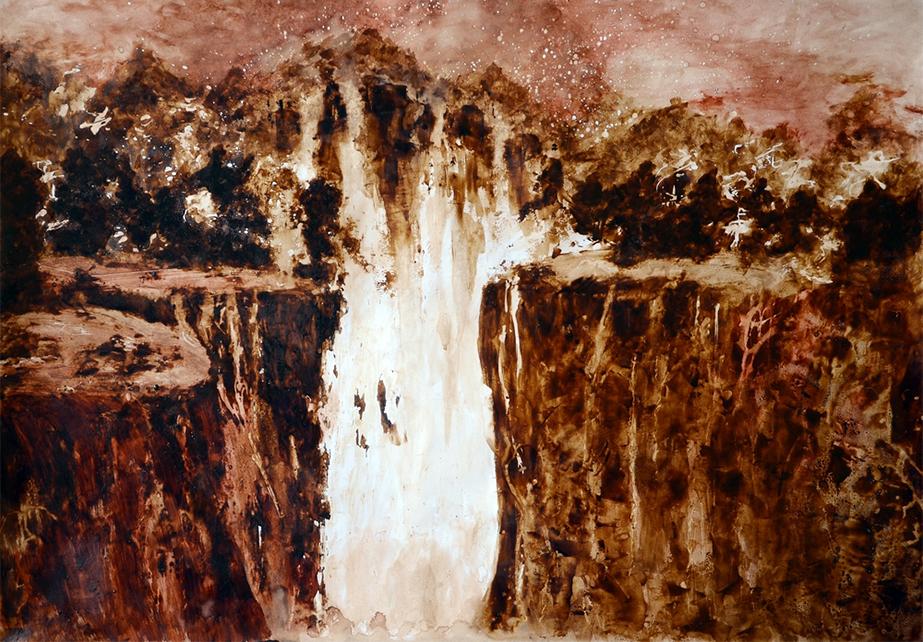 Wodospad-70x80-12.2014r,-obraz-namalowany-odcieniami-kawy,-przy-użyciu-szpachli-i-pędzla