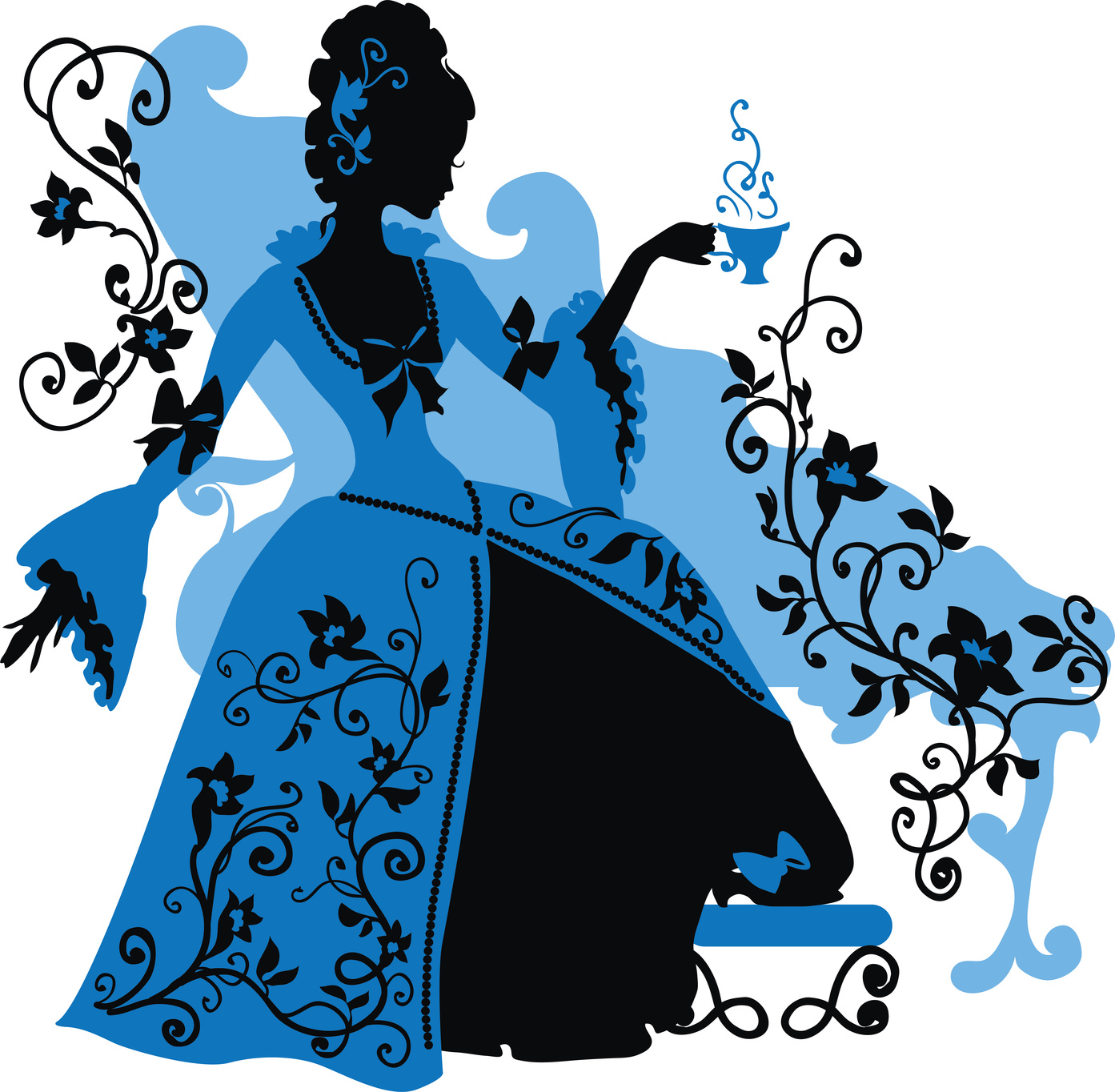 Graphic silhouette of a rococo woman with a cap of coffee. Fashion luxury