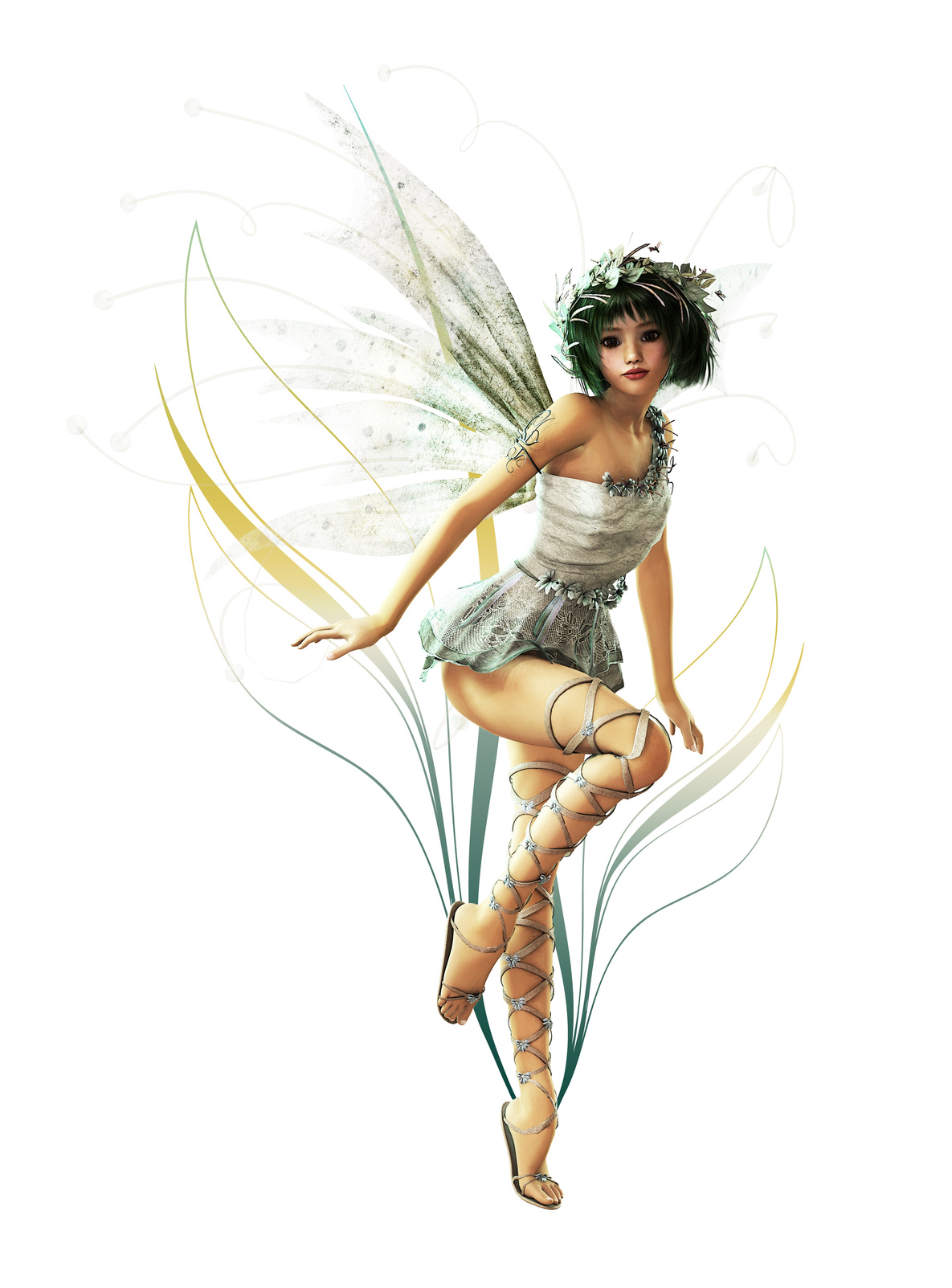 A charming fairy with wreath and wings