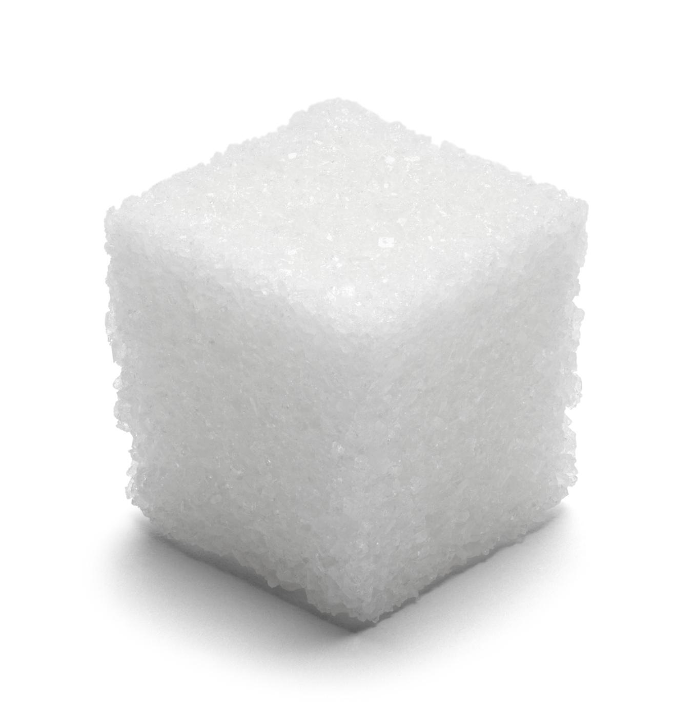 Single Cube of Sugar Isolated on White Background.