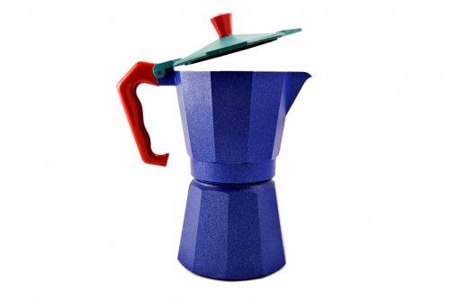 Caffettiera moka blu con manico rosso